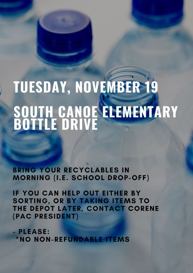 Bottle Drive Poster - Nov 2019 South Canoe